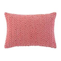 "Cotton velvet pillow with a feather-down fill.     Product: Pillow  Construction Material: Cotton velvet cover and feather down insert Color: Pink Features:   Plush velvet is braided in rows to lend distinctive texture to regal colorInsert included    Dimensions: 14"" x 20"""