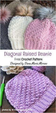 Diagonal Raised Beanie Free Crochet Pattern Idea - Home Crochet Mittens Pattern, Bonnet Crochet, Crochet Blanket Patterns, Knit Or Crochet, Crochet Gifts, Crochet Scarves, Crochet Headbands, Crochet Adult Hat, Crocheted Hats