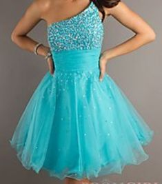 One strapped beautiful short blue dress!