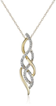 10k Yellow Gold Diamond Infinity Pendant Necklace (1/4 cttw, K-L Color, I3 Clarity), 18""