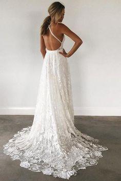 A Line Court Train Halter Sleeveless Backless Side Slit Cheap Wedding Gown,Beach Wedding Dress W159 - Ombreprom