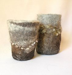 Felted Vases Set of 2 NATURAL ICELANDIC by eneefabricdesign