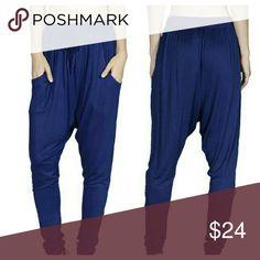 """Dakota"" Blue Harem Pants (S/M/L) Royal blue Harem pants, elastic waist & leg bottom, drawstring tie at waist, Material: polyester  Measures 38"" from waistband to hem Wild Plum Boutique  Pants"