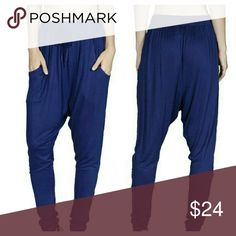 "Blue Harem Pants (S/M/L) Royal blue Harem pants, elastic waist & leg bottom, drawstring tie at waist, Material: polyester  Measures 38"" from waistband to hem Pants"