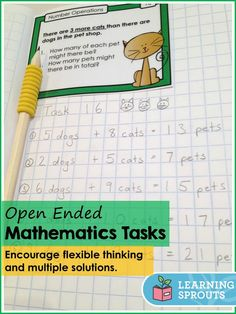 These fun open ended mathematics task cards help students develop flexible problem solving skills. I love the vast number of entry and exit points! Students can incorporate different operations. Math Addition, Addition And Subtraction, Mastery Maths, Subtraction Activities, Numeracy, Math Activities, Maths Investigations, Math Talk, Math Challenge