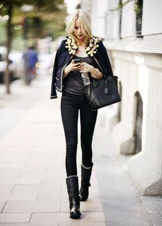 skinny jeans and draping coat