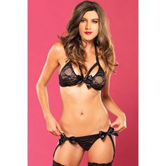 4a36cdc1e414 Leg Avenue Women's Vixen 2 Piece Bra and Garter, Black, Small/Medium: 2  piece strappy lace bra top and matching garter G-string with satin bow  accents
