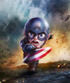 Captain America: Mini Avengers Series by Kuchu Pack Marvel Dc Comics, Marvel Avengers, Chibi Marvel, Avengers Series, Marvel Art, Marvel Heroes, Marvel Movies, Cartoon Cartoon, Captain America Wallpaper