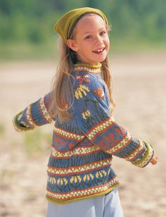 Patons Enchanted Garden Sweater Free Knitting Pattern for Girls. Skill Level: Intermediate Sizes: 4 6 8 10 years Bright and colorful fair isle pullover with fun floral designs. Shown in Patons Astra. Free Pattern More Patterns Like This! Kids Knitting Patterns, Knitting For Kids, Free Knitting, Baby Knitting, Sweater Patterns, Crochet Patterns, Fair Isle Pattern, Knitting Supplies, Circular Knitting Needles