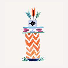 Totem 5 arrows, art print of  original watercolor painting, Folk art, tribal,  geometric, wall decor, nursery decor, Southwest, boys