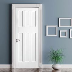 DirectDoors.com - DX60's Style White Primed Panel Fire Door, 30 Minute Fire Rated - £337.68 !!