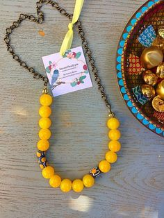Bohemian yellow Jade statement necklace /Retro style beadwork Necklace/ Eclectic style beaded necklace