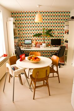 Photography interior retro kitchen with office