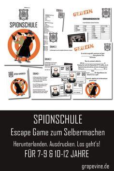 Die Spionschule ist eine unterhaltsame Aktivität, mit der man eine  komplette Feier oder ein anderes Ereignis füllen kann. Sie bekommen hier  alles, was Sie brauchen, um ein wirklich lustiges Escape Game für die  Kinder vorzubereiten. Das ganze beginnt mit einer Einladung in Form  eines Anrufs der Spionschule an die neu eingestellten Geheimagenten. #spionparty #escapegame #exitspiele #grapevine