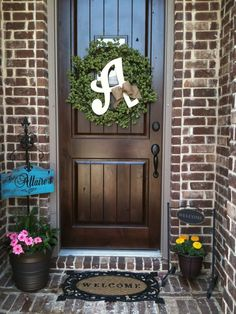 I think this will have to be our summer wreath, but I love the whole look of this front porch! I thi Initial Door Wreaths, Monogram Wreath, Letter Wreath, Door Monogram, Wood Wreath, Front Door Decor, Wreaths For Front Door, Front Doors, Front Entry
