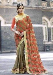 Party Wear Georgette Grey Embroidered Work Saree