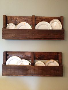 pallet shelves  I wanted some fun/funky shelving for our dining room.  So, I had my hubby rip apart a pallet & create a bottom piece for each shelf.  Then I sanded those puppies down and gave them a heavy coat of stain.  I love the rustic appeal against my quaint china.