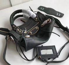 Balenciaga Bag Sale: Balenciaga City Bag Authentic Off Designer Purses, Balenciaga City Bag, Bag Sale, Metallic, Shoulder Bag, Dark, Classic, Green, Gold