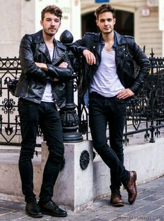 Jackets For Stylish Men. Jackets can be a vital component to every man's closet. Men will need outdoor jackets for assorted activities and several varying weather conditions. Leather Fashion, Leather Men, Leather Jackets, Black Leather, Biker Jackets, Biker Leather, Men's Jackets, Leather Trousers, Custom Leather