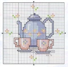 cross stitch chart tea pot and cup Cross Stitch Kitchen, Mini Cross Stitch, Cross Stitch Cards, Modern Cross Stitch, Counted Cross Stitch Patterns, Cross Stitch Designs, Cross Stitching, Cross Stitch Embroidery, Embroidery Patterns