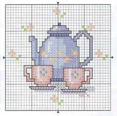 cross stitch chart. Tiny Cross Stitch, Cross Stitch Kitchen, Cross Stitch Cards, Modern Cross Stitch, Counted Cross Stitch Patterns, Cross Stitch Designs, Cross Stitching, Cross Stitch Embroidery, Embroidery Patterns