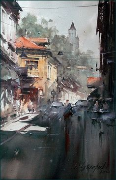 Dusan Djukaric The street with a soul, watercolor Watercolor City, Watercolor Landscape Paintings, Watercolor Canvas, Watercolor Sketch, Watercolor Artists, Watercolor Illustration, Landscape Art, Watercolor Architecture, Architecture Art