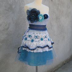 Carrie Bradshaw OOAK Vintage Lace Handmade Dress S/M by kovale, $186.00