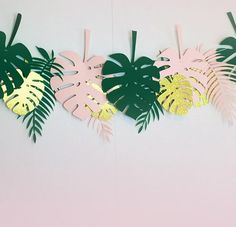Tropical Leaves Party Banner, ideal for Jungle Theme, Safari Theme Birthday Parties and Girl and Boy Baby Showers.