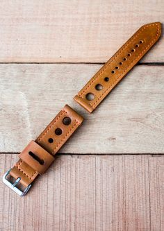 Sale Leather Watch Strap 22mm Vintage Style // Mustard
