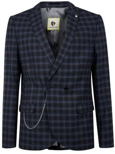 NOOSE & MONKEY Navy and Blue Check Suit Jacket
