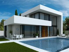 Here for sale we have 3 bedroom modern villas in Laguna Hills, Costa Blanca, Spain. These luxury new villas for sale are off plan and are ultra modern a. Luxury Homes Exterior, Luxury Homes Dream Houses, Luxury House Plans, Modern House Plans, Modern Villa Design, Modern Architecture Design, House Plans For Sale, Ultra Modern Homes, Villas