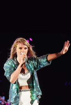 Taylor Swift performing at the 1989 World Tour Live in Foxborough, MA