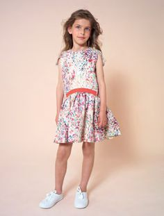 Watercolour printed dress from No Added Sugar for spring 2015 kids fashion showing at Playtime Paris