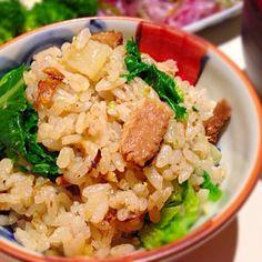 大根と生姜の炊き込みご飯に 茹でた菜の花とサンマ缶を混ぜました(o^^o) - 118件のもぐもぐ - 混ぜご飯 by yummin