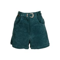 Teal Green Suede Shorts - Vintage clothing from Rokit - high waisted... ❤ liked on Polyvore featuring shorts, bottoms, high rise shorts, high-rise shorts, vintage shorts, highwaist shorts and high-waisted shorts