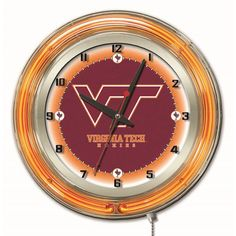 Virginia Tech University 19-Inch Neon Logo Clock