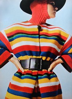 Nina Ricci rainbow coat, photo Fouli Elia, Jardin des Modes September 1967