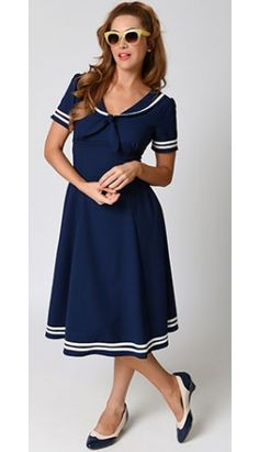 Hell Bunny Vintage Sailor Navy Ambleside Midi Crepe Swing Dress