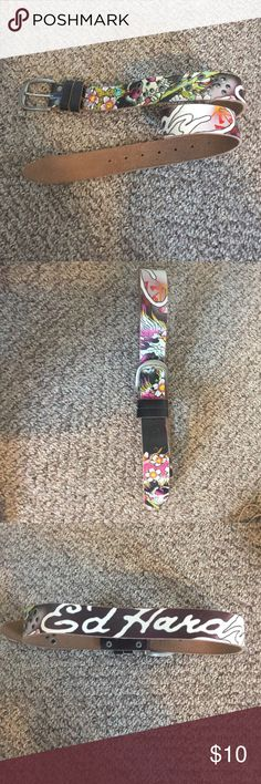Authentic ed hardy leather belt In lightly used condition. Authentic Ed hardy leather belt. The entire leather portion is 38 inches Ed Hardy Accessories Belts