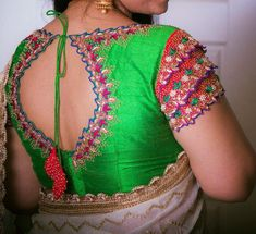 Style yourself In Anamika unique Layered net sleeves blouse ... truly designer!! Beautiful parrot green color designer blouse with key hole design and hand embroidery thread work. Can be customized in any color choices. 10 June 2018 Lengha Blouse Designs, Designer Blouse Patterns, Fancy Blouse Designs, Blouse Neck Designs, Saree Blouse, Hand Work Blouse Design, Stylish Blouse Design, Kurti Designs Party Wear, Thread Work
