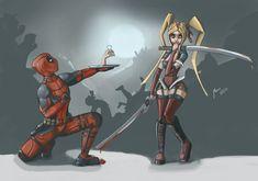 #Deadpool #Fan #Art. (Harley Quinn loves Deadpool) By: MarTs-Art. (THE * 5…