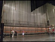 Backstage in Brown Theater, looking at the massive Scenery Fly cable control area Theatre Geek, Theatre Stage, Theatre Design, Stage Design, Musical Theatre, Theater Architecture, Drama Education, Stage Crew, Stage Curtains