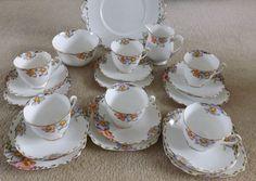 English Vintage Tea cup Saucer and Plate  / 1930s Staffordshire England China Cup Saucer and Plate / Full Tea Set Available / Art Deco Era