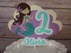 Torta de sirena sirena central Topper de la torta de por KbPaperCo