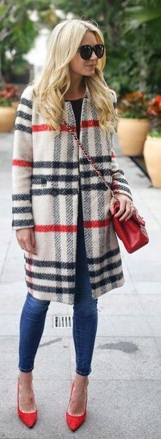White Multi Plaid Coat with Blue Skinny Jeans and Red Pumps.
