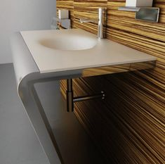 Corian sinks - unique sinks that combine style and functionality Contemporary Bathroom Sinks, Modern Small Bathrooms, Modern Bathroom Decor, Chic Bathrooms, Bathroom Furniture, Bathroom Ideas, Corian Sink, Dupont Corian, Lavabo Design