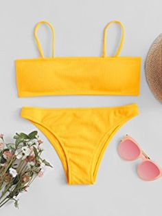 SweatyRocks Women's Sexy Bikini Set Removable Strap Wrap Padding Ribbed Swimwear Set Yellow
