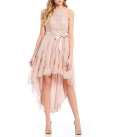 35a8a8233cc Teeze Me Lace Bodice Corkscrew High-Low Dress
