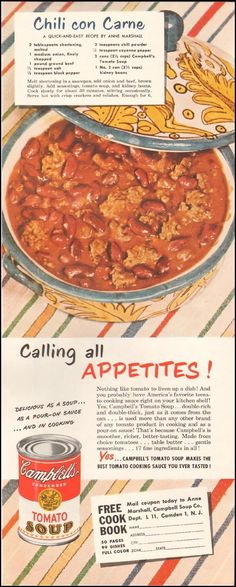Chronically Vintage: 5 summer into fall perfect vintage comfort food recipes including this one for Chili Con Carne.