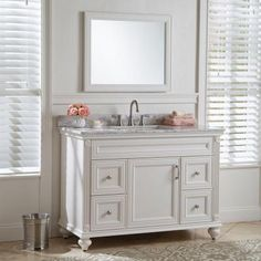 Home Decorators Collection Annakin 48 in. Vanity in Cream with Stone Effect Vanity Top in Winter Mist-CLSD48COMWM-CR - The Home Depot